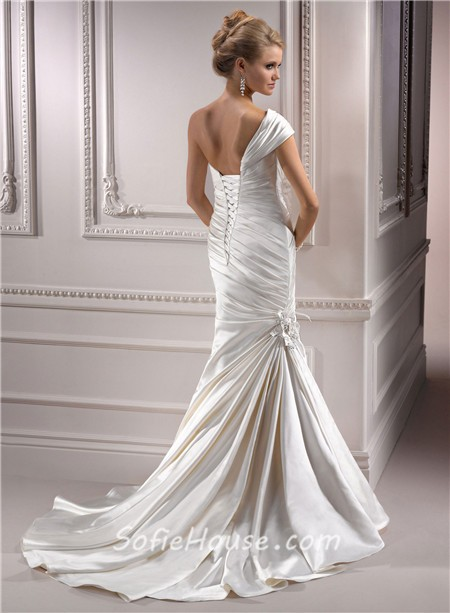 Mermaid Sweetheart Detachable Strap Ivory Satin Wedding