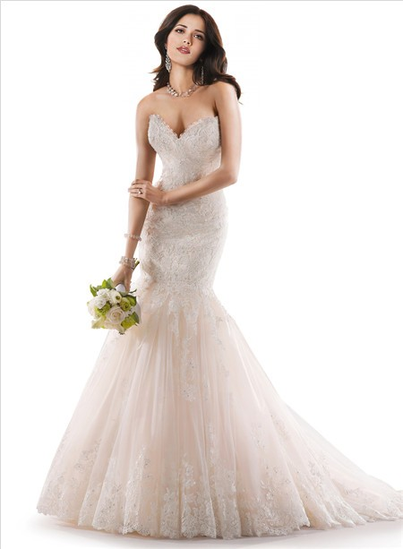 Fishtail Wedding Dress With Train : Sweetheart fit and flare ivory lace wedding dress with fishtail train