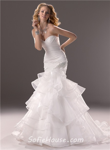 Mermaid sweetheart fit and flare layered organza wedding for Flare dresses for wedding