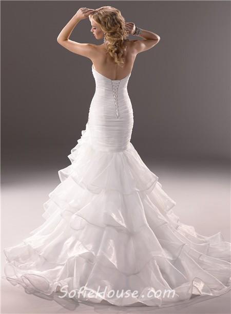 Mermaid sweetheart fit and flare layered organza wedding for Organza layered wedding dress