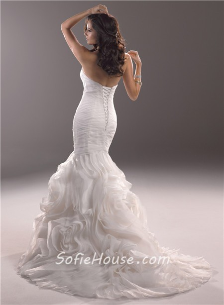 Mermaid Sweetheart Fit And Flare Tulle Rosette Wedding Dress With - Rosette Wedding Dress