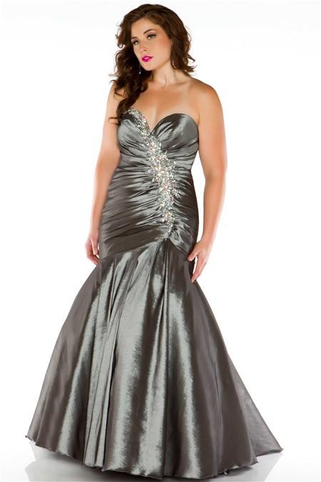 Mermaid Sweetheart Floor Length Grey Taffeta Beaded Evening Prom