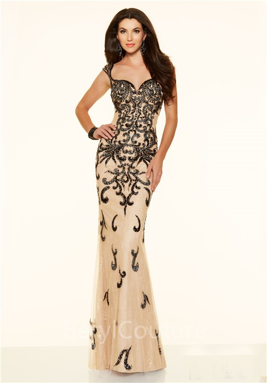 Mermaid Sweetheart Illusion Back Champagne Tulle Black