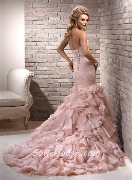 Pink Wedding Dress Sash : Mermaid sweetheart layered blush pink organza wedding