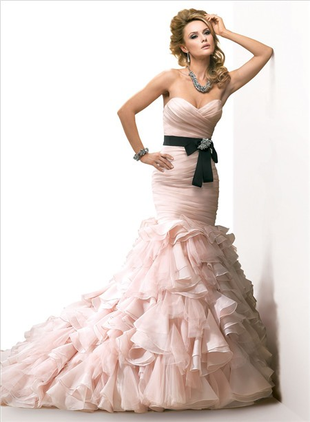Mermaid sweetheart layered blush pink organza wedding for Black and pink wedding dress