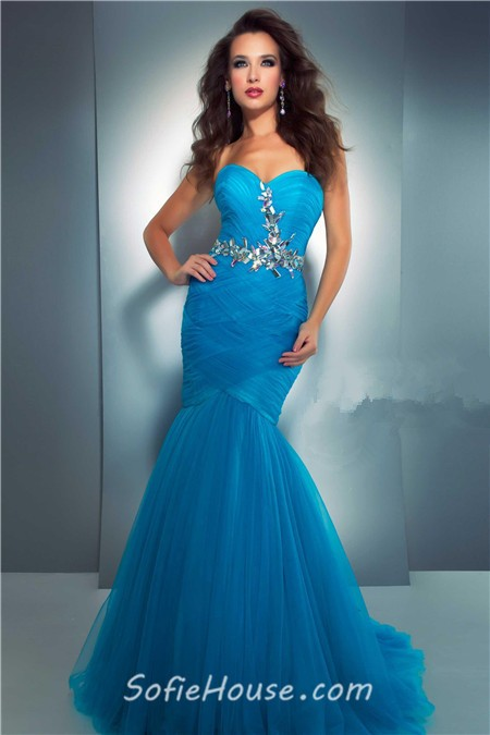 mermaid sweetheart long dark purple tulle prom dress with