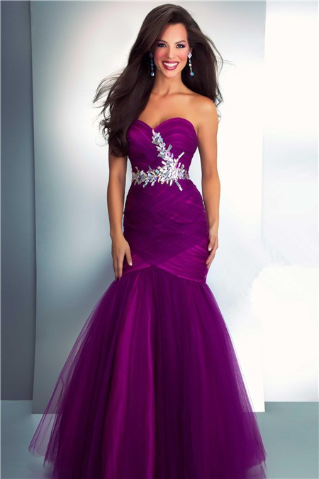 Sweetheart Long Dark Purple Tulle Prom Dress With Crystals