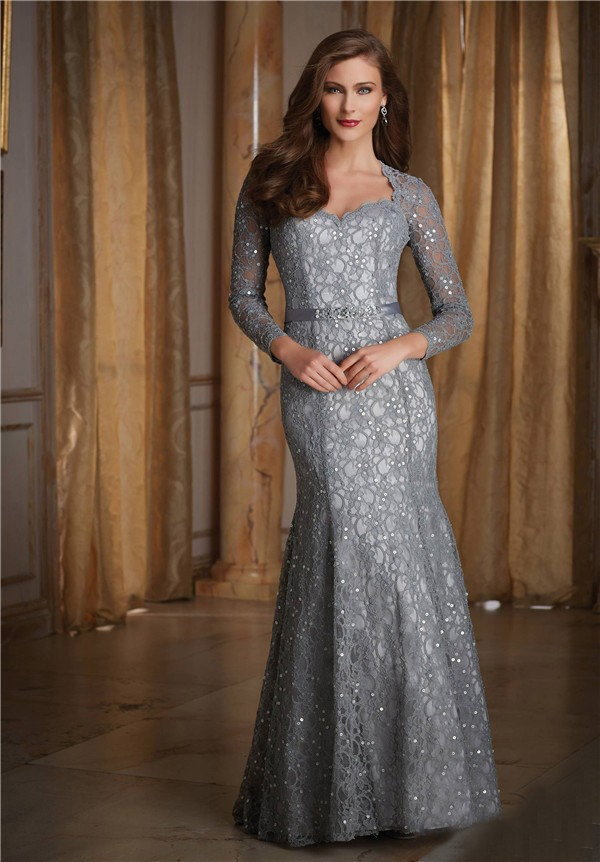 Mermaid Sweetheart Long Sleeve Silver Lace Beaded Formal Occasion ...