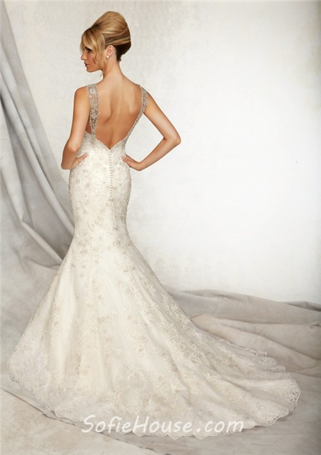 Mermaid sweetheart low back lace beaded wedding dress with for Beaded low back wedding dress