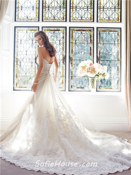 Mermaid sweetheart neckline draped organza lace beaded for Mermaid wedding dress with detachable train