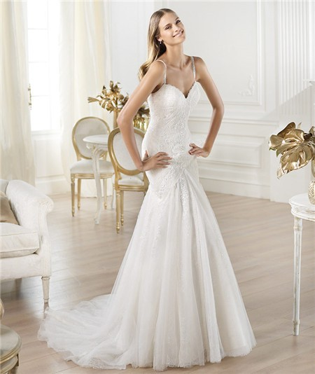 Mermaid sweetheart neckline lace tulle wedding dress with for Sweetheart wedding dress with straps