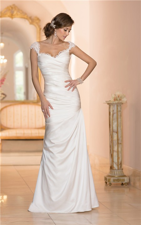 Mermaid sweetheart open back satin ruched wedding dress for Sweetheart wedding dress with straps