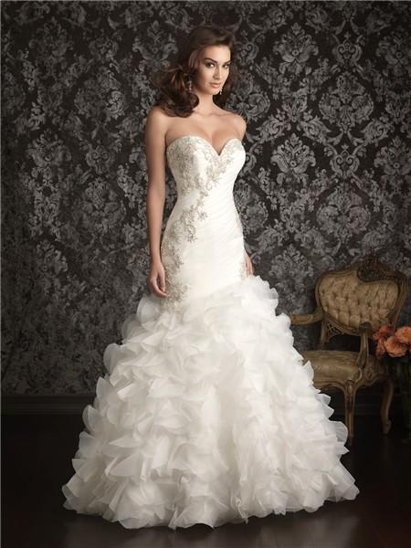 Mermaid Sweetheart Organza Ruched Ruffles Wedding Dress With Beading Crystals