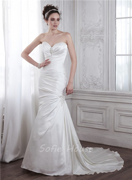 Mermaid sweetheart ruched satin wedding dress with beaded for Satin sweetheart mermaid wedding dress