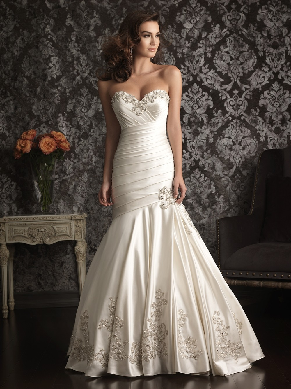 mermaid sweetheart satin ruched wedding dress with