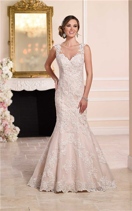 Mermaid sweetheart sheer see through back lace wedding for See through lace wedding dress