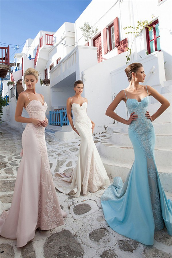 bbee8b9b778 Mermaid Sweetheart Spaghetti Strap Light Sky Blue Satin Lace Prom Dress  With Bow