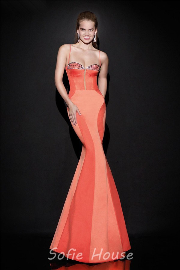 Mermaid Sweetheart Spaghetti Strap Open Back Coral Satin