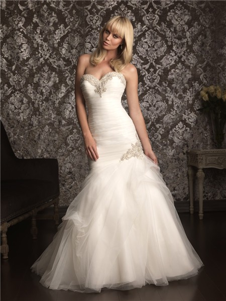 home mermaid sweetheart tulle ruched beaded wedding dress lace up