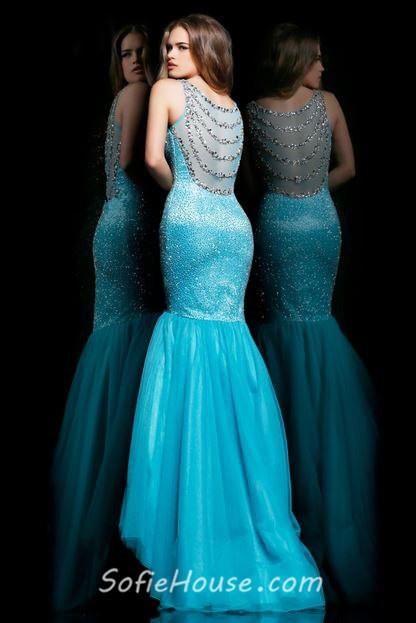 Aqua Organza Prom Dresses