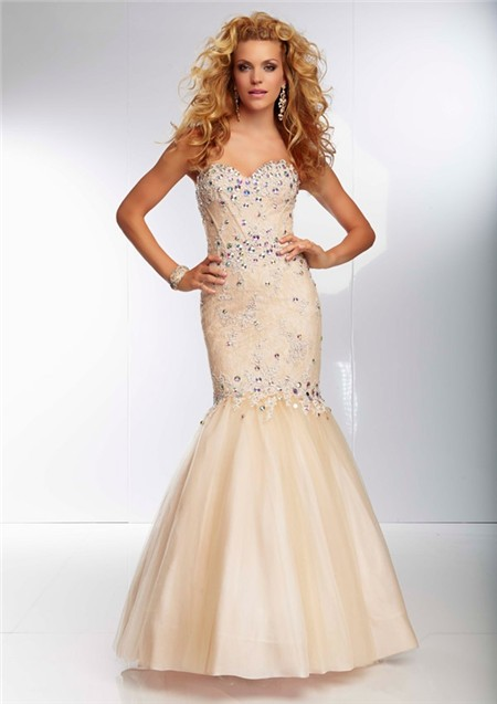 3c67df1bb6 Mermaid Trumpet Sweetheart Corset Back Long Champagne Nude Tulle Lace  Beaded Prom Dress