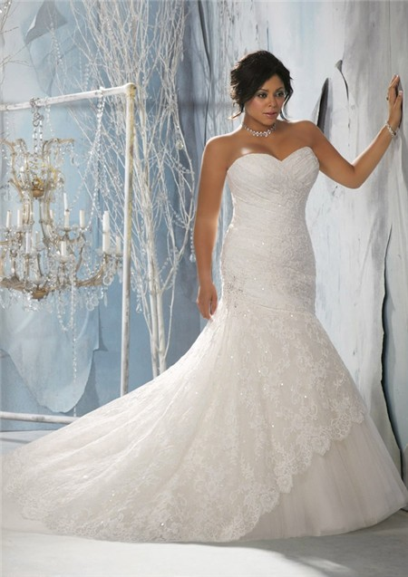 mermaid trumpet sweetheart corset back women plus size lace wedding dress sparkle
