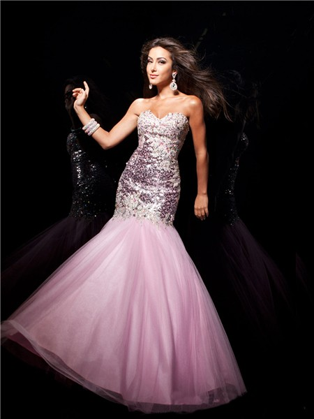Pink Sequin Prom Dresses 2013 Mermaid/ Trumpe...