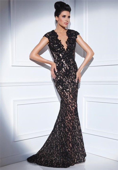 Mermaid V Neck Cap Sleeve Sheer Back Long Black Lace Formal Occasion