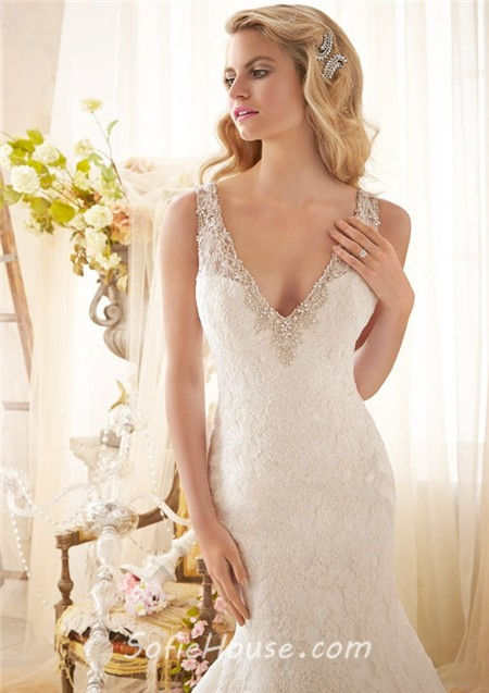 Mermaid V Neck Detachable Short Sleeve Organza Lace Wedding Dress Keyhole Open Back