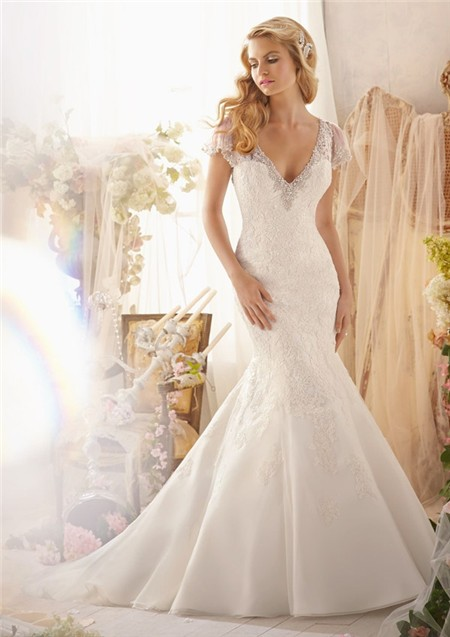 Mermaid v neck detachable short sleeve organza lace for Short open back wedding dresses