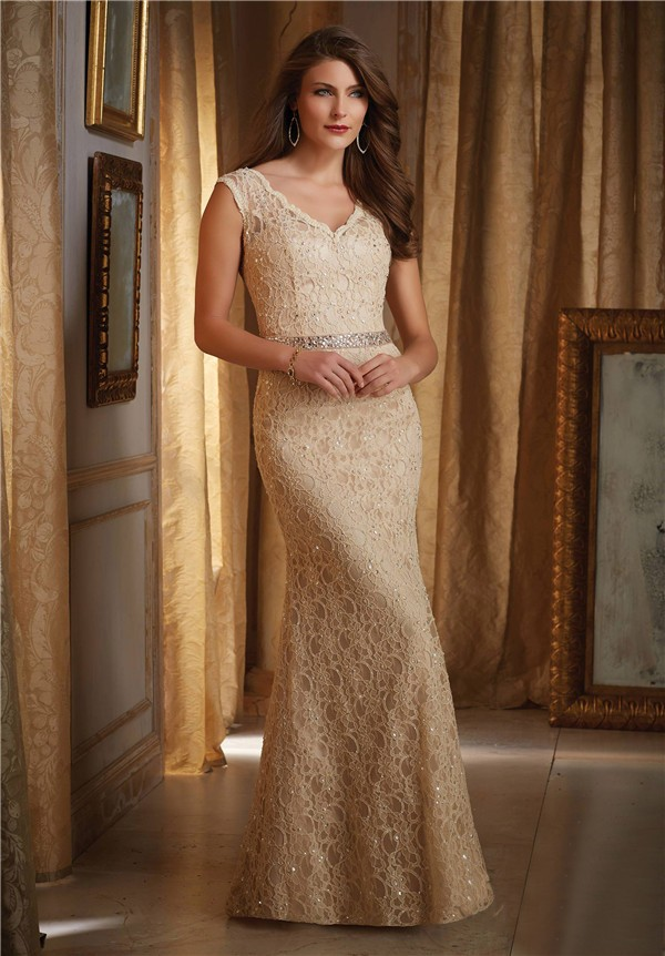 Mermaid V Neck Gold Lace Mother Of The Bride Evening Dress