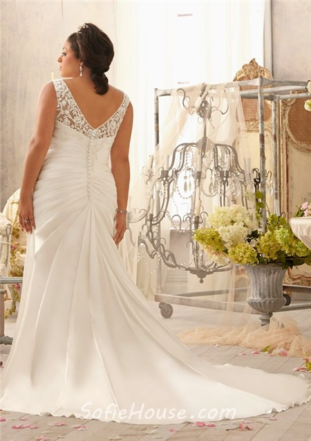 Mermaid V Neck Lace Satin Ruched Plus Size Wedding Dress