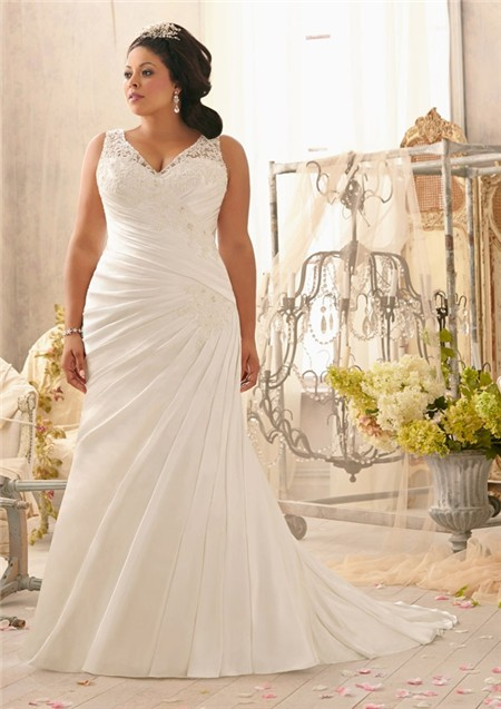 V Neck Lace Satin Ruched Plus Size Wedding Dress With Buttons