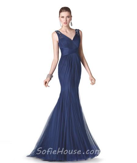 Evening dress navy blue