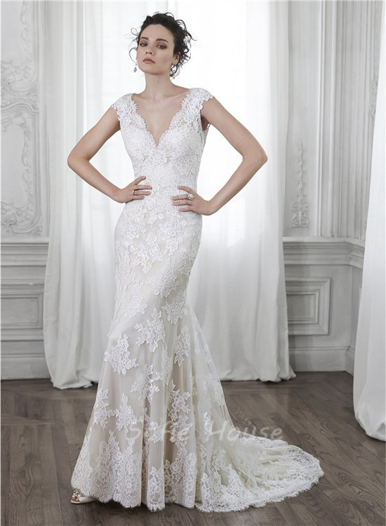 Mermaid V Neck Open Back Cap Sleeve Vintage Lace Wedding Dress Bow ...