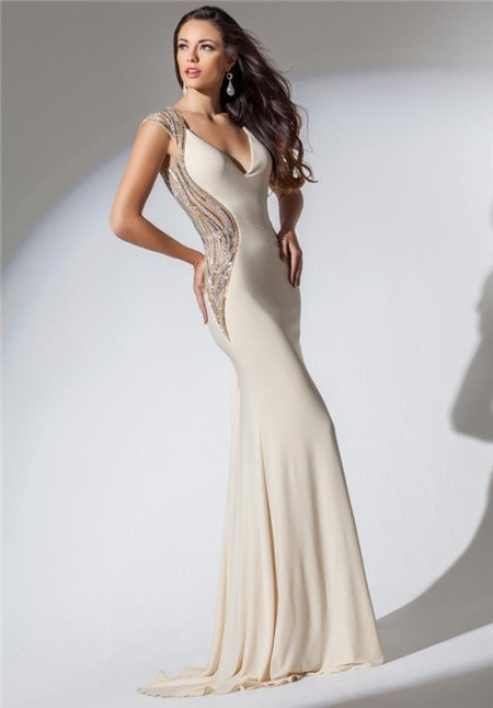 V Neck Open Back Ivory Chiffon Beaded Long Evening Prom Dress