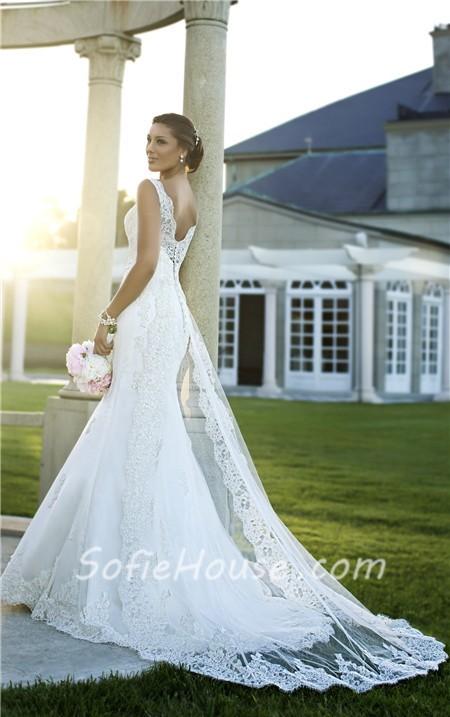 Mermaid v neck open back lace wedding dress with for Mermaid wedding dress with detachable train