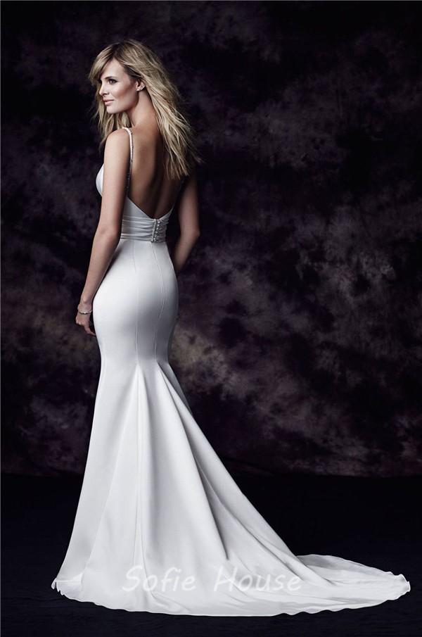 Mermaid V Neck Open Back Satin Wedding Dress With Straps
