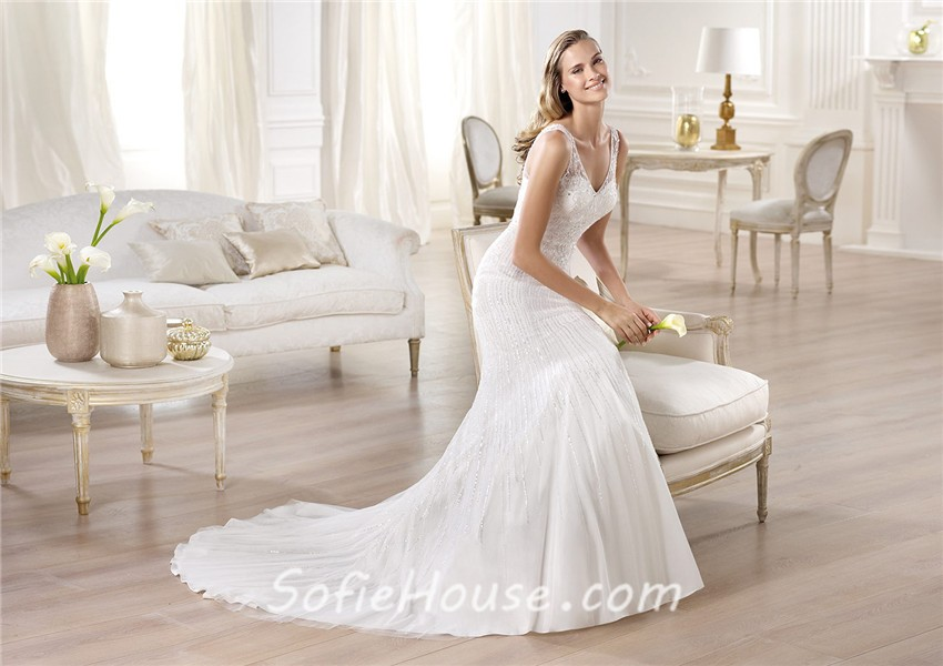 Mermaid V Neck Satin Tulle Wedding Dress With Sheer Straps