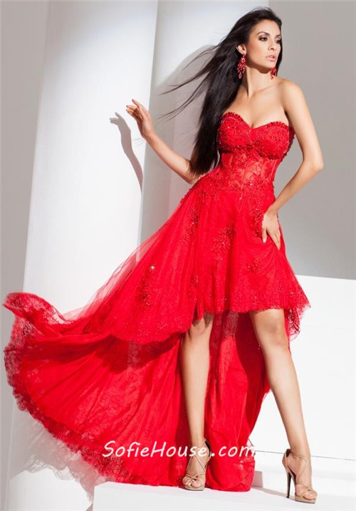 Modern high low strapless red tulle lace beaded corset for Modern house dress