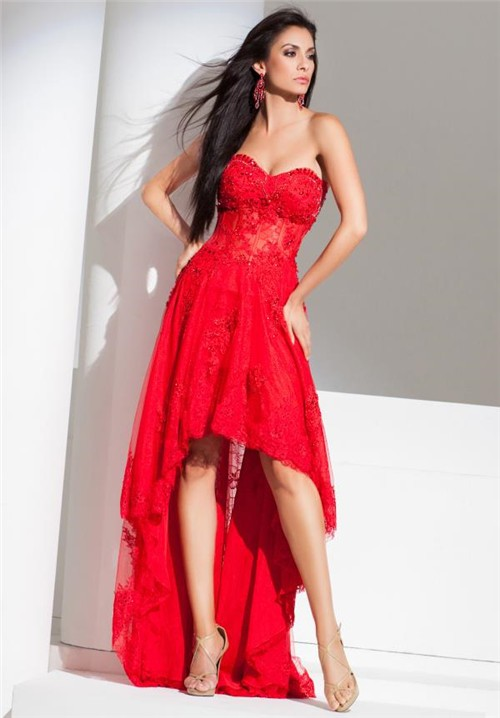 Modern High Low Strapless Red Tulle Lace Beaded Corset Homecoming ...