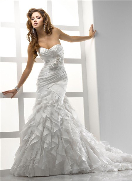 mermaid wedding dresses with ruffles. modern mermaid sweetheart organza wedding dress with ruffles crystal belt dresses s