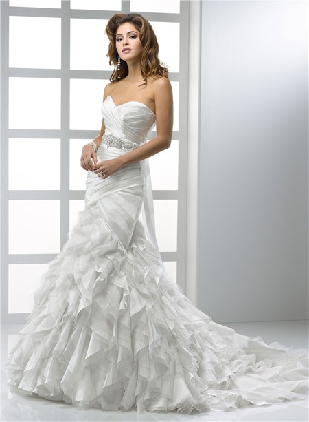 Mermaid Sweetheart Organza Wedding Dress With Ruffles Crystal Belt