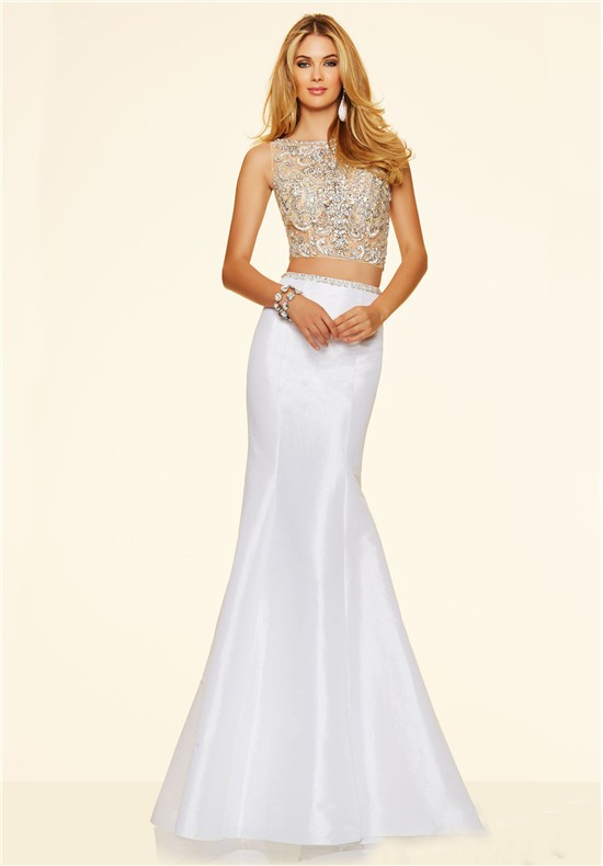 Modern Mermaid Two Piece White Taffeta Beaded Prom Dress