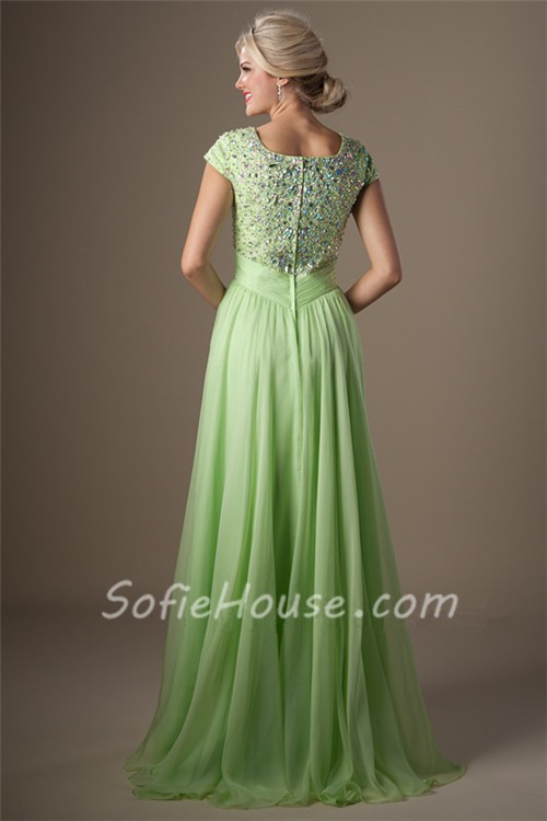 Modest A Line Cap Sleeve Light Green Chiffon Beaded Long