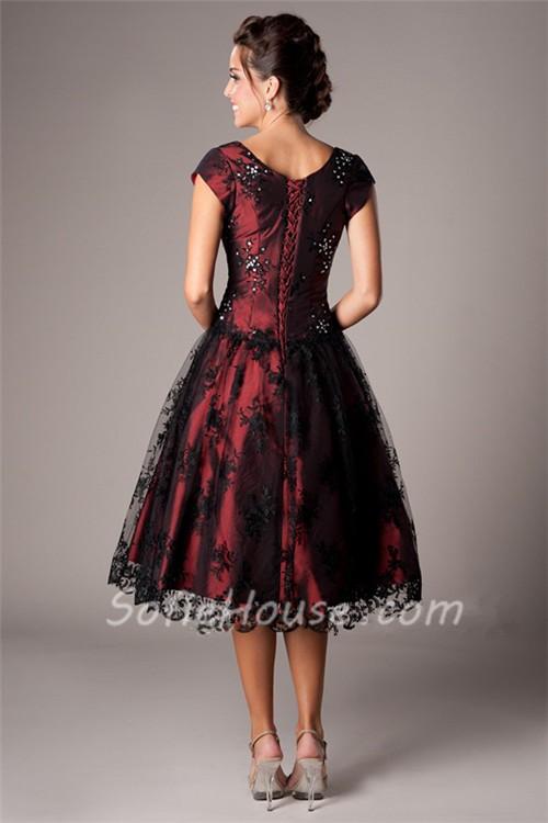 Modest A Line Cap Sleeve Teal Satin Black Lace Tea Length