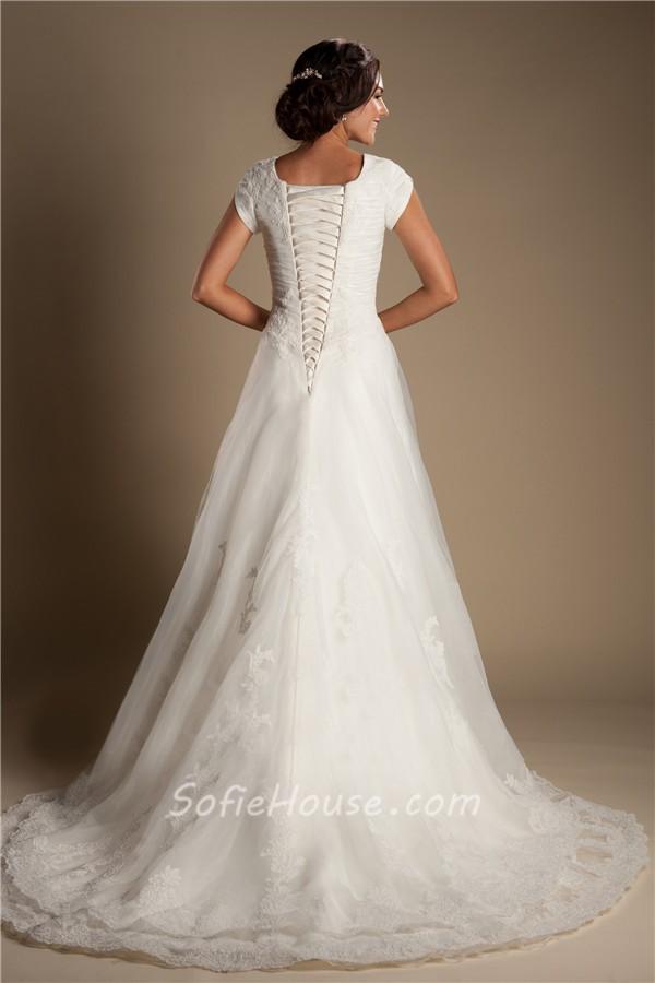 Modest a line cap sleeve tulle lace corset wedding dress for Lace sleeve corset wedding dress