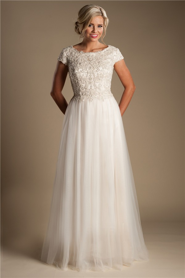 Modest a line champagne colored tulle beaded wedding dress for Tulle wedding dress with sleeves