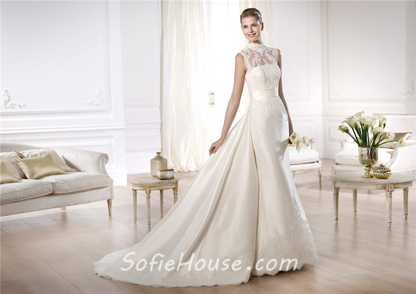 A Line Wedding Dress: Modest A Line High Neck Satin Lace Wedding Dress With