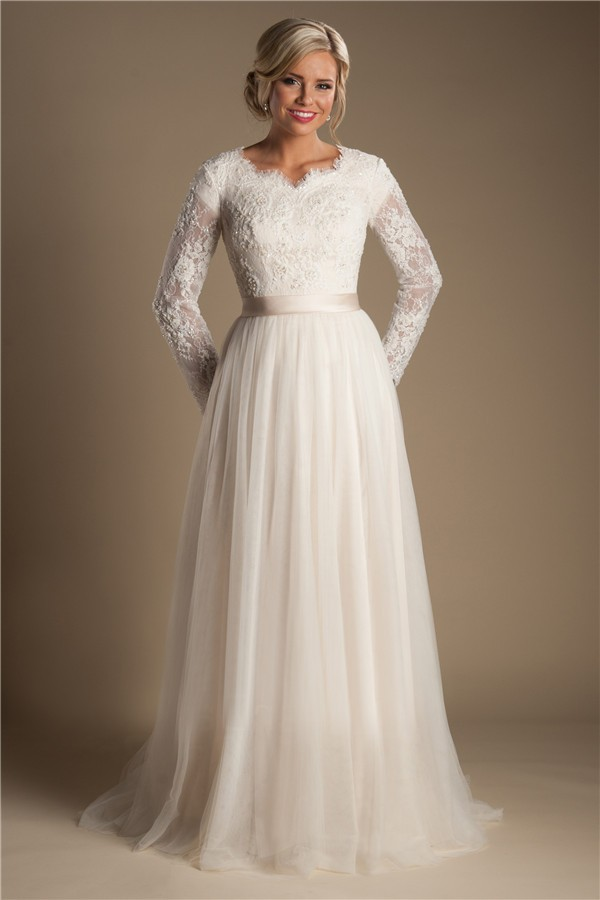 Modest a line long sleeve champagne tulle lace wedding for Long sleeve white lace wedding dress